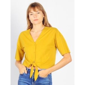 Mod Ref Mustard Luca Tie Front Top Size Large